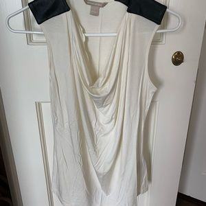 white silk tank top with black leather pads
